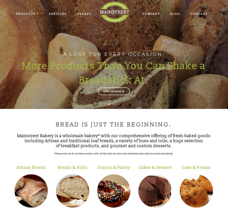 Mainstreet Bakery website